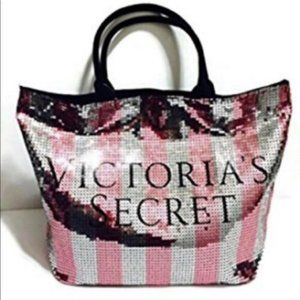 Ltd Edition Victoria's Secret Striped Sequin Tote